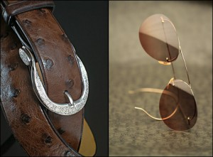 Mark Kelty bespoke belt and Nader Zadi bespoke sunglasses