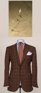 Domenica Vacca Brown Checkered Suit and Nader Zadi Custom Eyewear