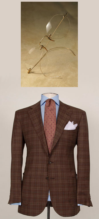 Domenica Vacca Brown Checkered Suit and Nader Zadi Custom Eyewear