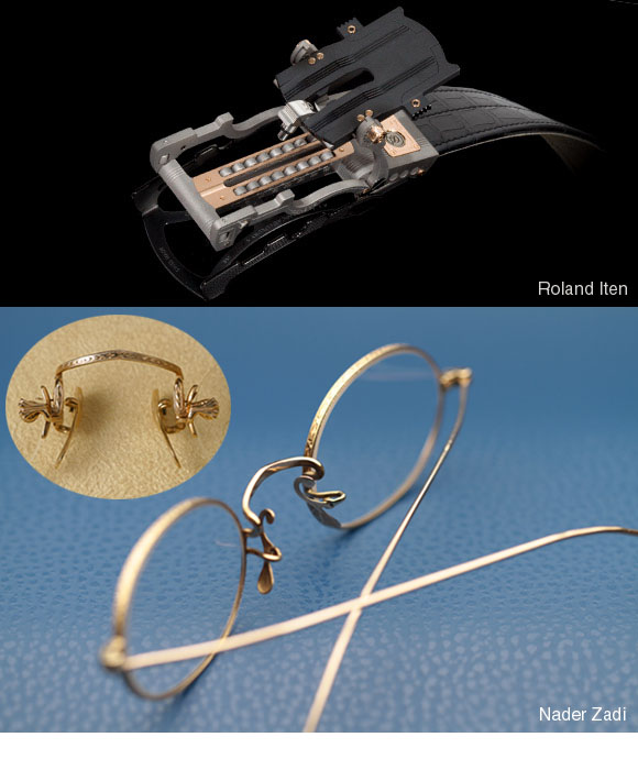 Roland Iten belt buckle pairs will with Nader Zadi custom eyewear