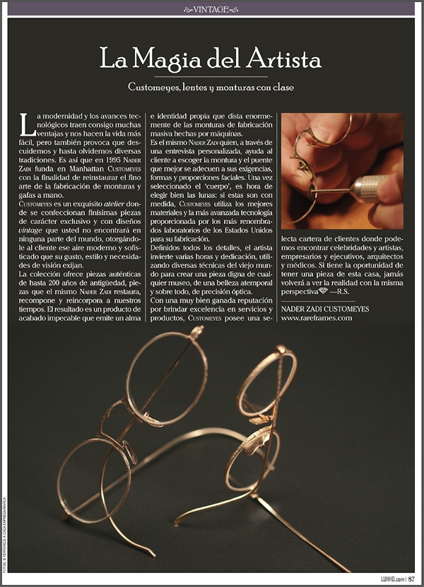 Nader Zadi Customeyes in Luhho Magazine