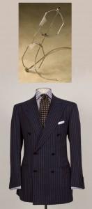 Navy Domenico Vacca suit and Nader Zadi custom eyeglasses