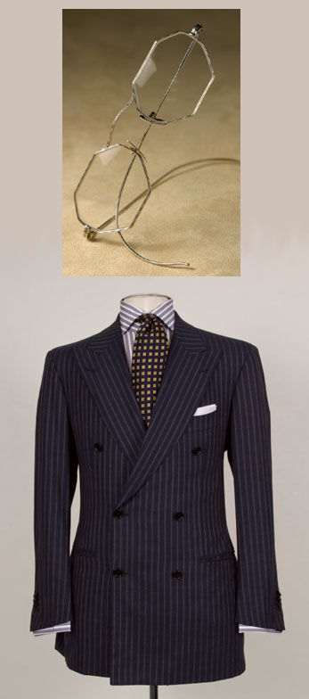 Navy Domenico Vacca suit and Nader Zadi custom eyeglasses