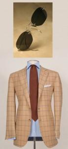 Peach checkered Domenico Vacca suit and Nader Zadi custom eyewear
